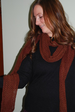 Alpaca Scarf - Red Brown