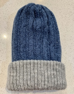 Alpaca Reversible knit hats - Blue/Grey