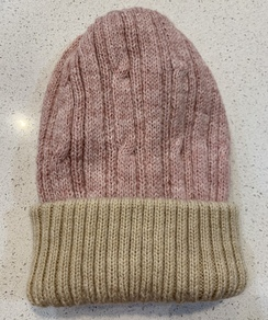 Alpaca Reversible knit cap - Light Pink