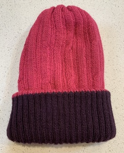 Alpaca reversible knit cap - Dark Pink