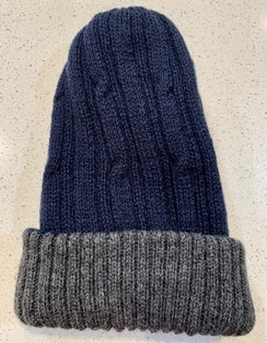 Alpaca reversible knit hat - Dark blue