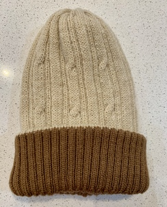 Alpaca reversible knit hat - Beige/brown