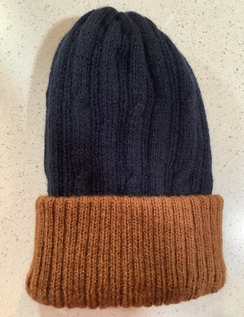 Alpaca reversible knit hat - Blue/brown