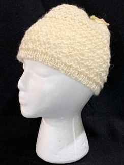 Knitted Alpaca (70%) Lace Stitch Beanie