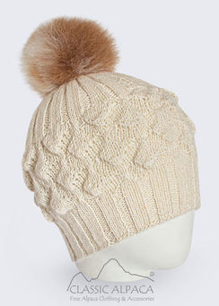 Photo of Alpaca fur pom pom hat