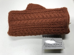Rust color alpaca fingerless glove