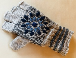 Snow Leopard fingerless gloves
