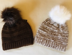 Hand Knit 100% alpaca hats with Pom Pom