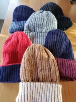 Double knit reversible hat, 100% alpaca