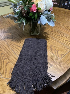 Photo of True Black 100% Hand Crocheted Scarf