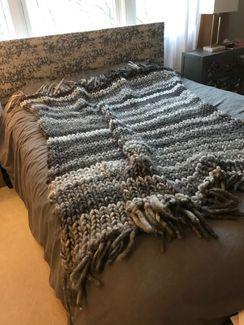 Pam's gorgeous cored yarn afghan!