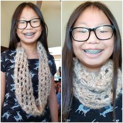 Hope's crocheted roving scarf