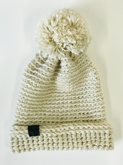 Photo of Adult Cream Pom Alpaca Beanie