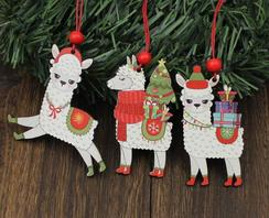 Photo of Alpaca Wooden Christmas Ornament Set