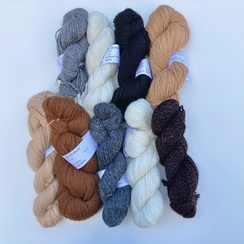 Our 2020 Alpaca Yarn  Selection .  Worsteds on top, DKs below.