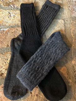 Winter Rib-Topped Diabetic Alpaca Sock