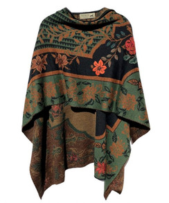 Photo of Green Gypsy Reversible Alpaca Ruana