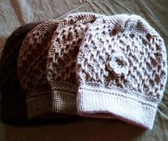 Crocheted 100% Alpaca Flower Beanie Knit