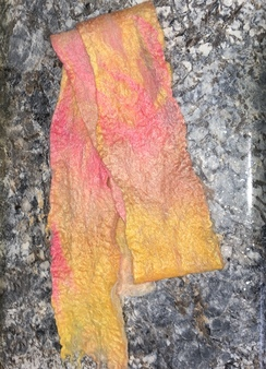 Wet Felted Alpaca Scarf- Pink Yellow