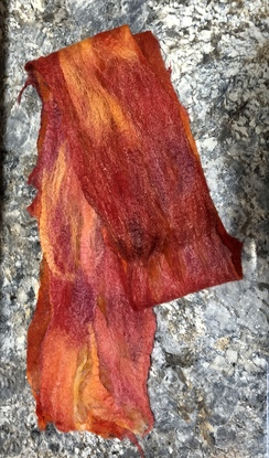 Wet felted Alpaca Scarf- Red Orange