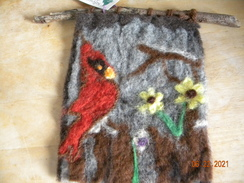 Cardinal felted picture