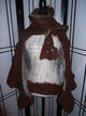 brown alpaca and chiffon with bobbles and attached scarf